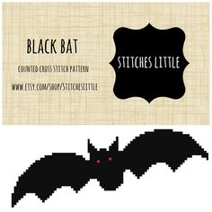 Halloween Cross Stitch Patterns - Modern Cross Stitch - Black Bat Cross Stitch - PDF Pattern - Instant Download by StitchesLittle on Etsy