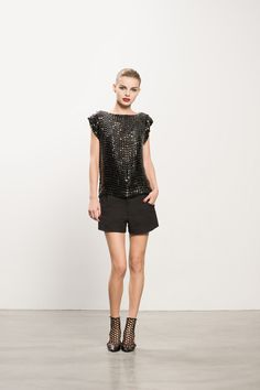 Boatneck Beaded Top & Pique Shorts with Secret Place Open Back Bootie #beaded #booties #allblack