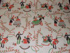 Vintage 1940s Christmas Wrapping Paper Gift Wrap Mid Century WW2 Era 2 Yards | eBay