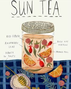 What better way to become acquainted with herbs than by sipping fresh herbal sun teas? Here's how to make herbal sun tea using herbs growing all around you. Yummy Drinks, Healthy Drinks, Healthy Food, Nutrition Drinks, Refreshing Drinks, Detox Drinks, Tea Blends, Food Illustrations, Illustration Artists