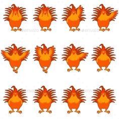 Set of Golden Rooster Flat Icons