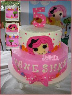 Pink Lalaloopsy Cake in Butter Cream (Frosting)