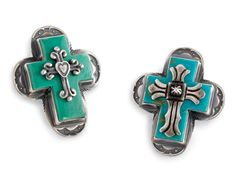 """Old World Cross Rings  Crow's Nest Exclusive. Inspired, in turquoise. 1½"""" H. Adjustable to size 9. Made in the USA."""