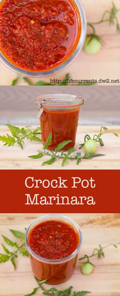 Homemade Crock Pot Marinara Sauce/Easy and good. I used canned crushed tomatoes and slow cooked some Italian Chicken Sausage  and peppers in the sauce. Will make again.