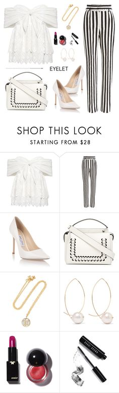 """Black & white eyelet!"" by samra-bv ❤ liked on Polyvore featuring Sea, New York, Dolce&Gabbana, Jimmy Choo, Fendi, Carolina Bucci, mizuki, Bobbi Brown Cosmetics, eyelet, polyvorecontest and polyvorefashion"