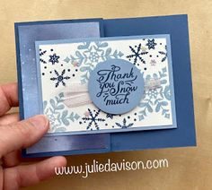 Stampin' Up! Snowflake Wishes Double Flap Card + Video Replay ~ Aug-Dec 2020 Mini Catalog ~ www.juliedavison.com Snowflake Images, Snowflake Cards, Snowflake Designs, Snowflakes, White Snowflake, Stampin Up Christmas, Christmas Cards, Winter Karten, Slider Cards
