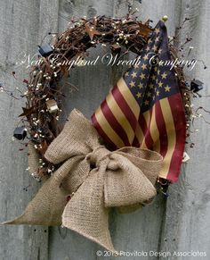 Americana Wreath, Patriotic Wreath, Fourth of July Wreath, Rustic Decor, Country Cottage, Tea Stained Flag