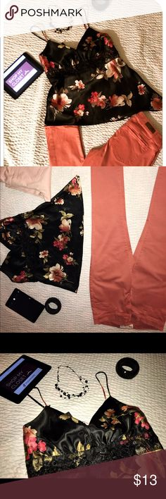Floral silky top with detail and RSQ jeans Floral silky symmetrical top with detail and tie in the back. Separate, RSQ Jeggings size 13 mix and match sold  separately. Tops Blouses