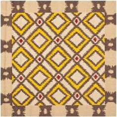Four Seasons Beige and Yellow Square: 6 Ft. x 6 Ft. Rug - (In Square)