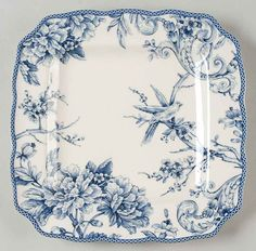 Sure is a beautiful blue and white square plate that I happened across while looking for blue calico dishes.