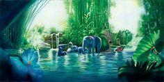 Disneyland - The Jungle Cruise by John Rowe presented by World Wide Art Disney Films, Disney Cartoons, Disney Fine Art, Disney Artists, Adventures By Disney, Vintage Disney, Disneyland, Art Gallery, World
