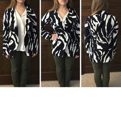 """Zebra striped overcoat Made of polyester and spandex. Comfortable and slimming. There are belt loops for a belt or tie, but belt is missing. Reflected in price. Has a lining on the back. I'm 5' 2"""" and the sleeves are a little long on me. Wrapper Jackets & Coats Blazers"""