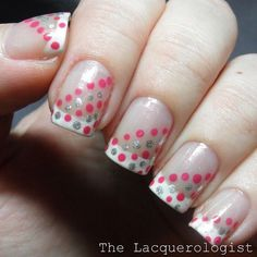 French mani with pink and silver polka dots