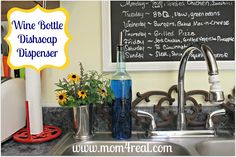Cute little flowers by the sink -- Wine Bottle Turned Dish Soap Decanter at www.mom4real.com