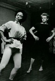 Eartha Kitt gives James Dean a dancing lesson, 1955