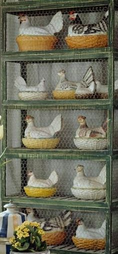 Great effect here - added the chicken wire to a rustic piece! French Hens :))