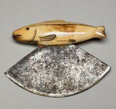 "virtual-artifacts: "" Eskimo Women's Knife (Ulu); Walrus Ivory Handle, Steel Blade ca. Arte Inuit, Inuit Art, Single Pearl Necklace, Leather Pearl Necklace, Native Art, Native American Art, Ulu Knife, Fish Knife, Art Premier"