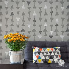 Triangulations Wall Stencil for geometric modern triangle shape pattern from the Bonnie Christine collection by Royal Design Studio