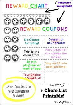Love how easy this is for younger kids! A good alternative to paying in money, using different family rewards instead. Also has a cute printable chore list, that they can check off too. kids and money, teachiing kids about money Printable Reward Charts, Reward Chart Kids, Chore Chart Kids, Chore Charts, Free Printables, Chore Rewards, Kids Rewards, Chore List, Parenting Advice