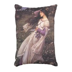 Windflowers-by John William Waterhouse 1902 Accent Pillow - classic gifts gift ideas diy custom unique
