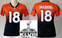 Women Nike Denver Broncos 18 Peyton Manning Orange Blue Drift Fashion II Elite 2014 Super Bowl XLVIII NFL Jerseys