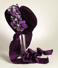 Bonnet, circa crafted in beautiful purple Silk and Velvet.(LACMA) : Bonnet, circa crafted in beautiful purple Silk and Velvet. Victorian Hats, Victorian Women, Victorian Fashion, Vintage Fashion, Civil War Fashion, 1800s Fashion, Antique Clothing, Historical Clothing, Gothic Fashion