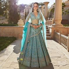 Sabyasachi Spring Summer 2019. Gorgeous summer teal blue embroidered Sabyasachi bridal lehenga. #Frugal2Fab #indianweddings #colorfulweddingdresses
