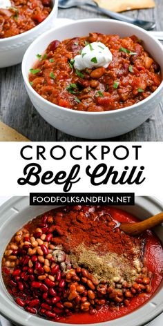 This recipe is the BEST Crockpot Chili because it serves ten and only costs $15.14 to make. That's just $1.52 per serving! Head over to Food Folks and Fun to make some Sour Cream Cornbread or Cheesy Green Chile Cornbread to go with this chili for the perfect comfort meal on a chilly night! Tailgating Recipes, Potluck Recipes, Easy Dinner Recipes, Great Recipes, Easy Meals, Delicious Crockpot Recipes, Slow Cooker Recipes, Beef Recipes, Crockpot Meals