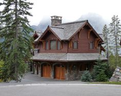Spaces Alpine Chalet Design, Pictures, Remodel, Decor and Ideas - page 4  shakes, stone work and detailing