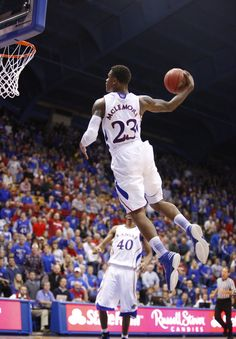 Kansas guard Ben McLemore finishes the game with a windmill dunk against San Jose State during the second half on Monday, Nov. 2012 at Allen Fieldhouse. Kansas Jayhawks Basketball, Kansas Basketball, Basketball Teams, Basketball Court, Ku Bball, Ku Sports, Spartan Sports, University Of Kansas, San Jose