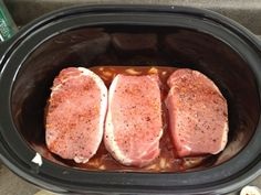 "Simple BBQ ""Pulled"" Pork in the Crockpot using pork chops. Literally just changed my cooking world...."