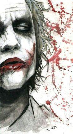 Joker - OK so not part of the Marvel universe, but I don't care. I always loved the Joker. Der Joker, Heath Ledger Joker, Joker Art, Comic Books Art, Comic Art, Héros Dc Comics, Joker Kunst, Joker Drawings, Creation Art