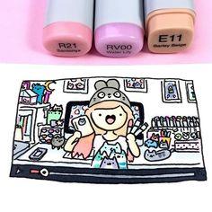 Kira showing her stuffs Copic Drawings, Doodle Drawings, Easy Drawings, Doodle Art, Kawaii Doodles, Cute Kawaii Drawings, Kawaii Art, Kawaii Stuff, Youtube Kawaii