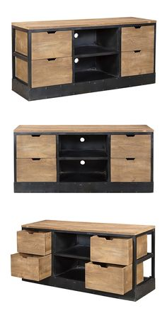 With its clean, contemporary design, this mango wood and metal Jameson Media Unit will make a perfect addition to your modern living space. Equipped with four drawers and ample shelf space, this beauti...  Find the Jameson Media Unit, as seen in the Cabinets Collection at http://dotandbo.com/category/furniture/bookcases-and-cabinets/cabinets?utm_source=pinterest&utm_medium=organic&db_sku=114807