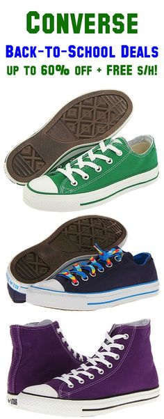 Converse Back-to-School Deals: up to 60% off + FREE Shipping!! #shoes