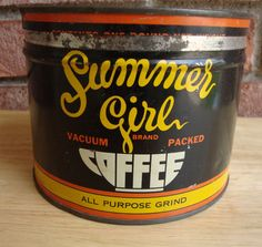 Vintage Summer Girl Coffee Tin   All Purpose Grind