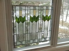 Large Prairie Style Stained Glass Panel