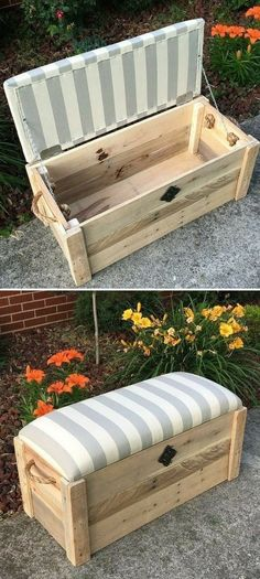 Pallet kids couch with storage box ideas In the field of interior design, wooden pallets make a mark to get more extensive ideas on all the grounds of wooden items. Pallet furniture and storage ideas make your home design perfect and innovat Weathered Furniture, Wooden Pallet Furniture, Wooden Pallets, Wooden Diy, Diy Furniture, Furniture Storage, Garden Furniture, Trendy Furniture, Furniture Design