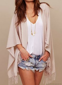 Spring outfit / cream colored fringe sweater, denim shorts, white tee, long gold necklace