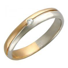 Обручальное кольцо с фианитом из бело-красного золота 585 пробы 01О160056