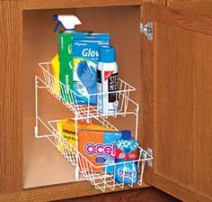 Tiered Baskets and other cupboard organizers @ Harriet Carter