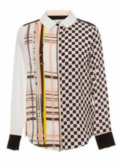 Black White Plaid Lapel Long Sleeve Blouse US$23.61