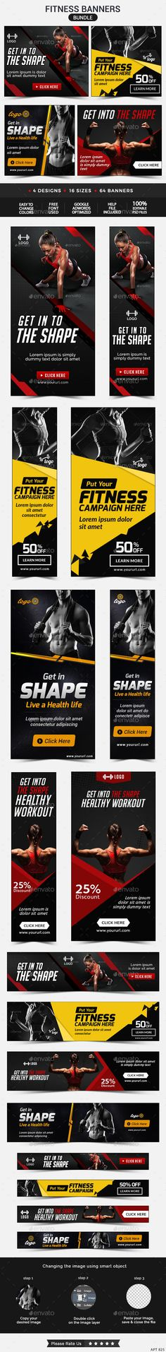 Fitness Banners Bundle - 4 Sets Template #design Download: http://graphicriver.net/item/fitness-banners-bundle-4-sets/12410525?ref=ksioks