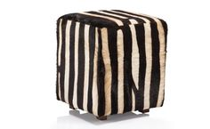 Coco Republic Zambessi Faux Zebra Hide Stool - Square. Made from cowhide.