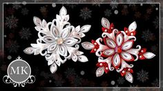 Gorgeous silk ribbon snowflakes with kanzashi technique Ribbon Art, Fabric Ribbon, Ribbon Crafts, Flower Crafts, Diy Flowers, Fabric Flowers, Quilted Christmas Ornaments, Fabric Ornaments, Christmas Ribbon