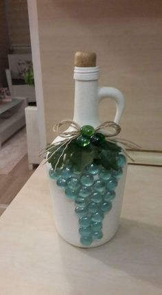 Discover thousands of images about Grape jar Glitter Wine Bottles, Wrapped Wine Bottles, Painted Wine Bottles, Lighted Wine Bottles, Bottle Lights, Bottles And Jars, Glass Bottle Crafts, Wine Bottle Art, Diy Bottle