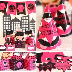 Pink Superheroes Party Kit is perfect to celebrate your Super Girl's next party.