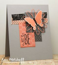 Love the colors! Card by Jen Mitchell using Let it Be from Verve.  #vervestamps