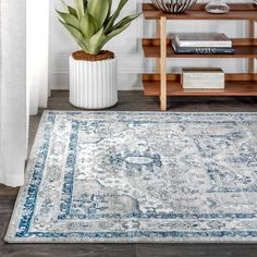 Jonathan Y Vintage Medallion With Border X Area Rug In Light Grey/blue Colorful Rugs, Border Rugs, Light Grey, Turkey Colors, Rugs, Trending Decor, Vintage Medallion, Floor Coverings, Area Rugs