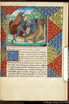 Book of Hours, MS fol. - Images from Medieval and Renaissance Manuscripts - The Morgan Library & Museum Medieval Dragon, Medieval Art, Renaissance Art, Celtic Dragon, Illuminated Letters, Illuminated Manuscript, Medieval Drawings, Islamic Art Calligraphy, Calligraphy Alphabet
